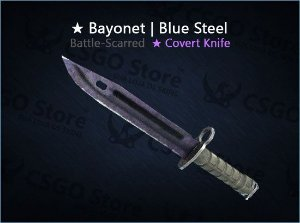 ★ Bayonet | Blue Steel (Battle-Scarred)