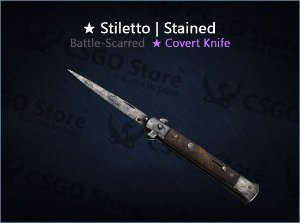 ★ Stiletto Knife | Stained (Battle-Scarred)