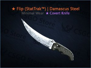 ★ Flip Knife (StatTrak™) | Damascus Steel (Minimal Wear)