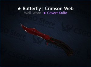 ★ Butterfly Knife | Crimson Web (Well-Worn)