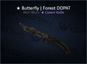 ★ Butterfly Knife | Forest DDPAT (Well-Worn)