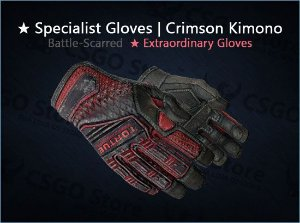 ★ Specialist Gloves | Crimson Kimono (Battle-Scarred)