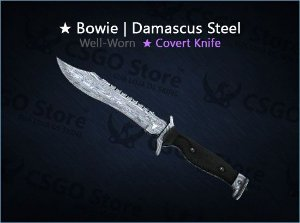 ★ Bowie Knife | Damascus Steel (Well-Worn)