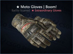 ★ Moto Gloves | Boom! (Battle-Scarred)