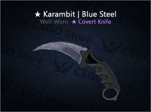 ★ Karambit | Blue Steel (Well-Worn)