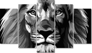 LEÃO p&b - Quadro Mosaico 5 Telas em Canvas