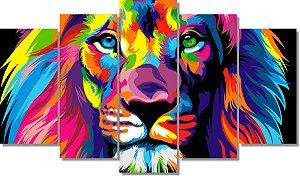 LEÃO COLORIDO - Quadro Mosaico 5 Telas em Canvas