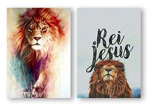 Leão de Judá Aquarela + Rei Jesus KIT 2 PÇS REF 3001