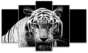 Tigre Branco Desenhado - Quadro Mosaico 5 telas em Canvas