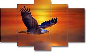 ÁGUIA - Quadro Mosaico 5 telas em Canvas