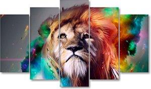 LEÃO CORES - Quadro Mosaico 5 Telas em Canvas