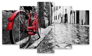 Bicicleta Vintage  - Quadro Mosaico 5 telas em Canvas