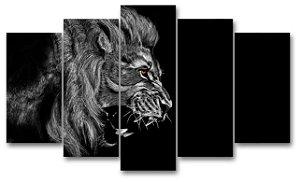 LEÃO DESENHO - Quadro Mosaico 5 Telas em Canvas
