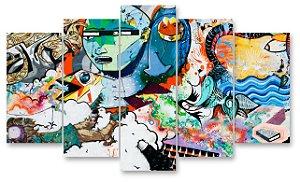 ARTE DE RUA - Quadro Mosaico 5 telas em Canvas
