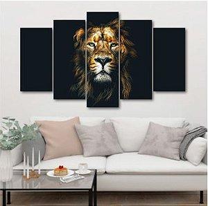 Leão #5- Quadro Mosaico 5 Telas em Canvas