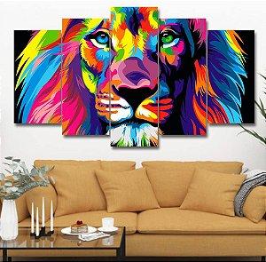 Leão Colorido Moderno - Quadro Mosaico 5 Telas em Canvas