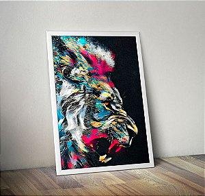 Leão Colorido - Emoldurado