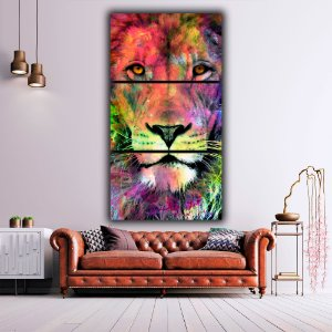 Leão Colorido - 3 Canvas