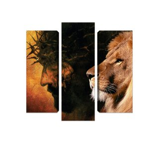 Jesus e Leão - 3 telas Canvas
