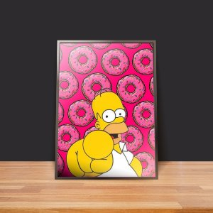 Homer and Pink donuts - Emoldurado
