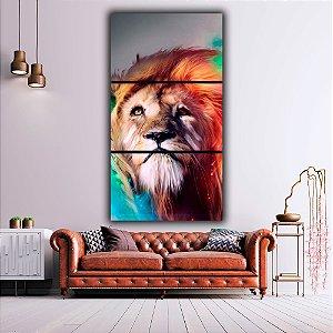 Leão Cores - 3 Canvas