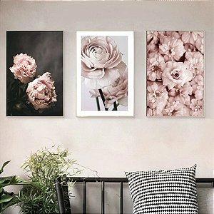 Floral  - 3 Quadros emoldurados