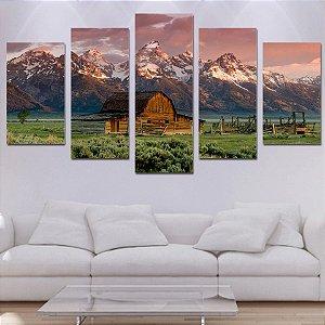 Casa com fundo Montanhas - 5 Telas Canvas