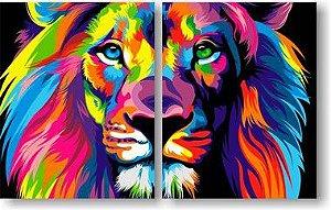 Leão Colorido Moderno - 2 Telas Canvas