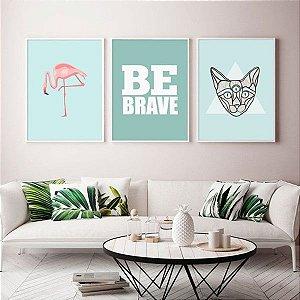 Flamingo... Be Brave... Grato Geométrico  - 3 Quadros emoldurados
