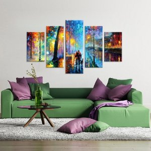 A noite aquarela - Quadro Mosaico 5 telas em Canvas