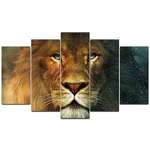 Quadro Rosto Leão 1 - Quadro Mosaico 5 telas em Canvas