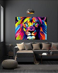 Leão colorido - Tela Canvas