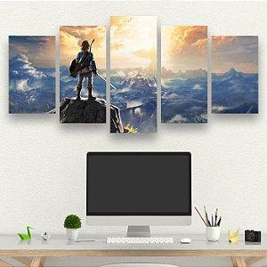 The Legend Of Zelda - Quadro Mosaico 5 telas em Canvas