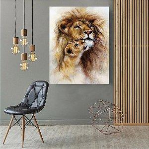 Leão e filhote - Tela Canvas