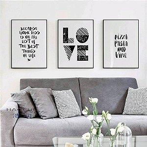 Love + Pizza   - 3 Quadros emoldurados