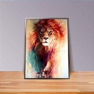 Leão de Judá Aquarela- Emoldurado