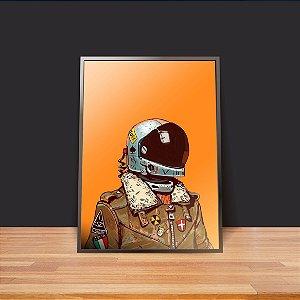 Astronauta fundo laranja - Emoldurado