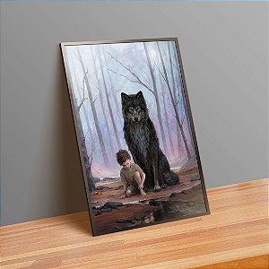 Menino e o lobo - Emoldurado