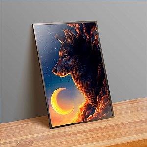 Lobo e lua - Emoldurado