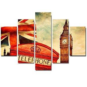Londres - Quadro Mosaico 5 telas em Canvas
