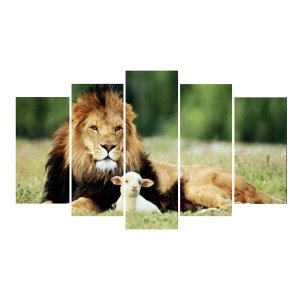 Cordeiro e Leão - 5 Telas Canvas