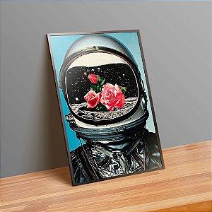 Astronauta florido - Emoldurado
