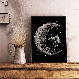 Astronauta na lua - Emoldurado