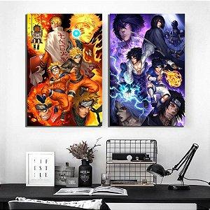 Naruto e Sasuke - Kit 2 quadros