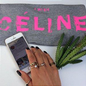 T-shirt Celine estampa pink fluor