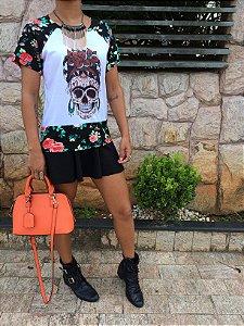 T-shirt Skull Flowers