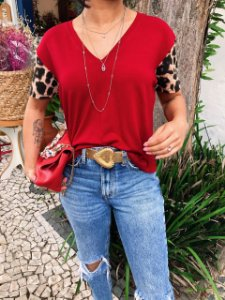 T-shirt Gola V com Mangas Animal Print