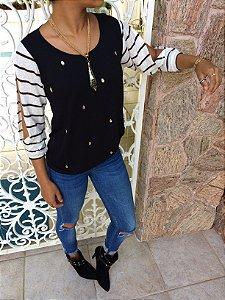 T-shirt bordada com mangas 3/4 de tricot