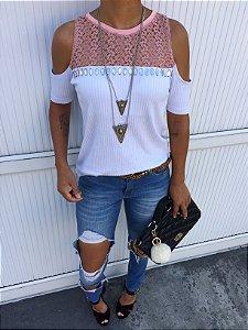 T-shirt Malha canelada bordada com renda