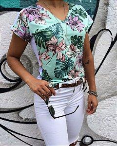 T-shirt Floral com faixas brancas laterais